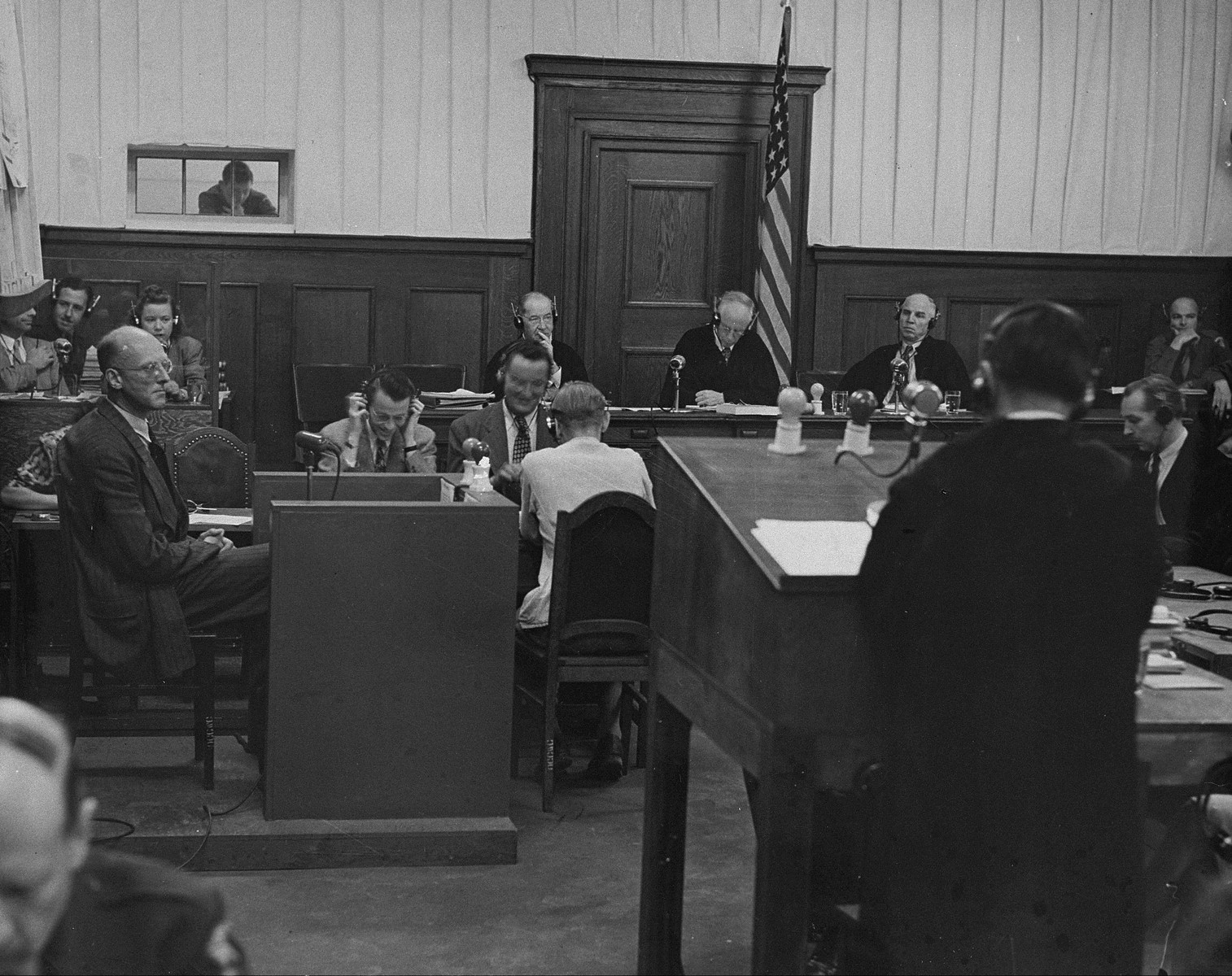 The Military Tribunal III hears witness testimony for the Justice Case.  The testimony was heard in a room in the Palace of Justice which was not the main courtroom.