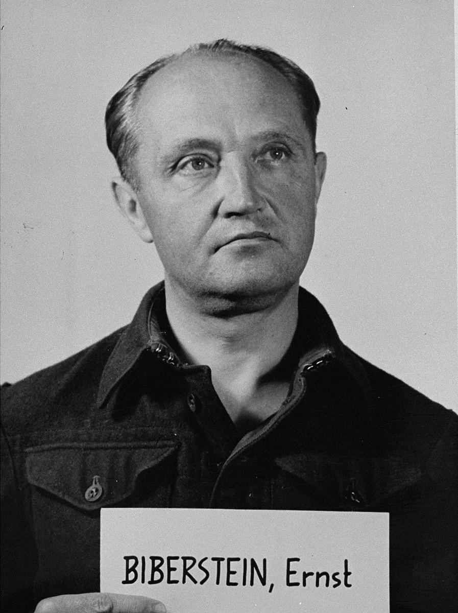 Mug-shot of defendant Ernst Biberstein at the Einsatzgruppen Trial.