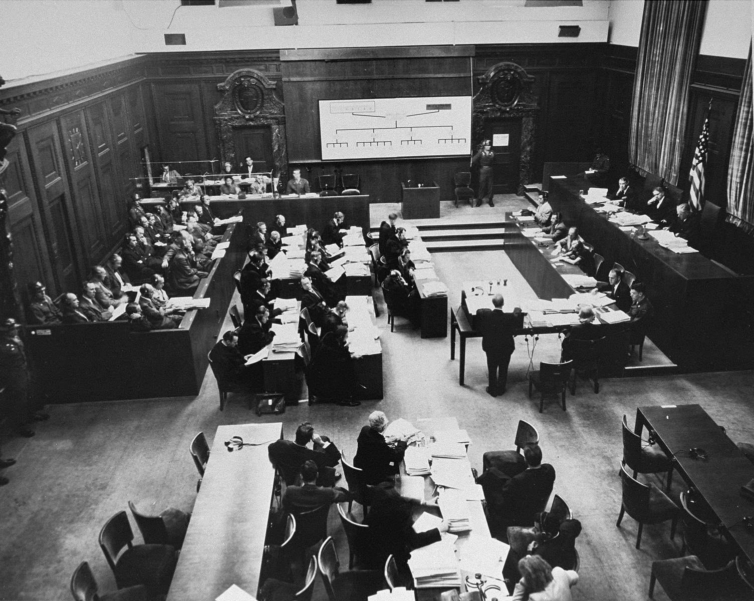Chief prosecutor Benjamin Ferencz (standing center) presents evidence at the Einsatzgruppen Trial.