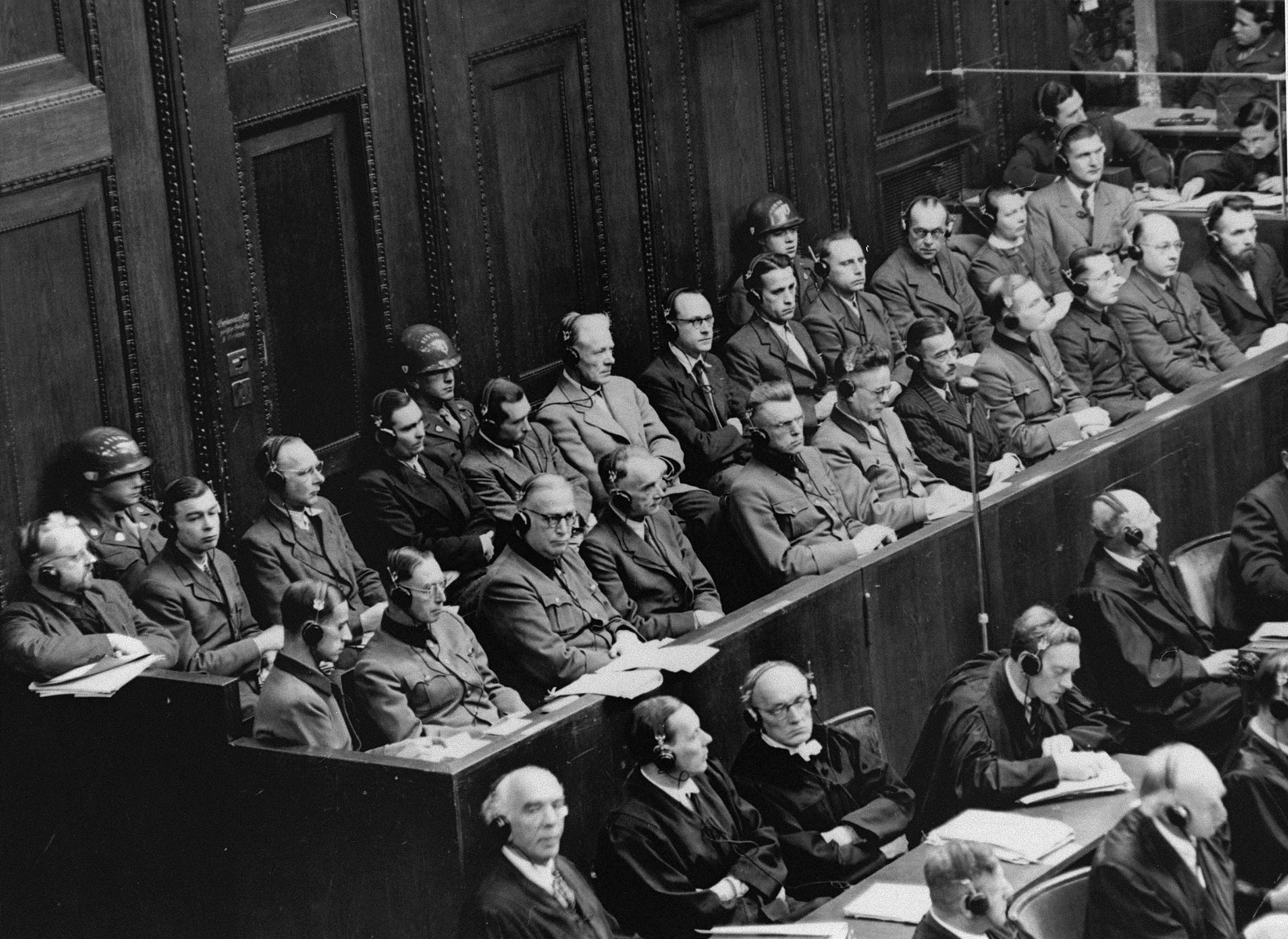 View of the defendants dock during a session of the Medical Case (Doctors') Trial in Nuremberg.