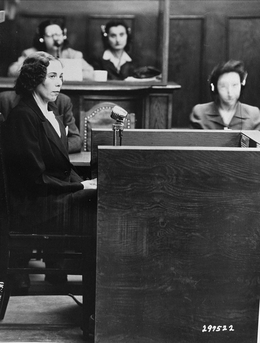 Inge Viermetz testifies in her own defense at the RuSHA Trial.