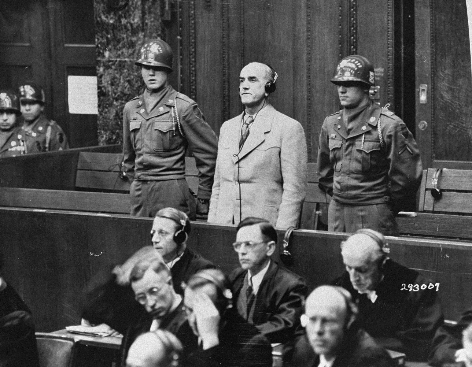 Defendant Oswald Pohl, a former SS Obergruppenfuehrer and general in the Waffen-SS, is sentenced to death by hanging by the Military Tribunal II at the Pohl/WVHA trial.
