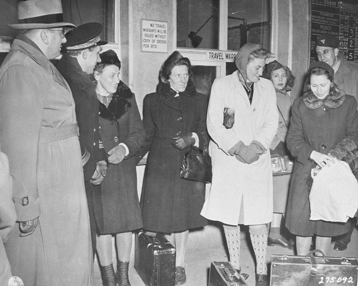 Four Polish women arrive at the train station in Nuremberg to be prosecution witnesses at the Doctors Trial.    From left to right are Jadwiga Dzido (Hassa), Maria Broel-Plater (Skassa),  Maria Kusmierczuk and Wladislava Karolewska.