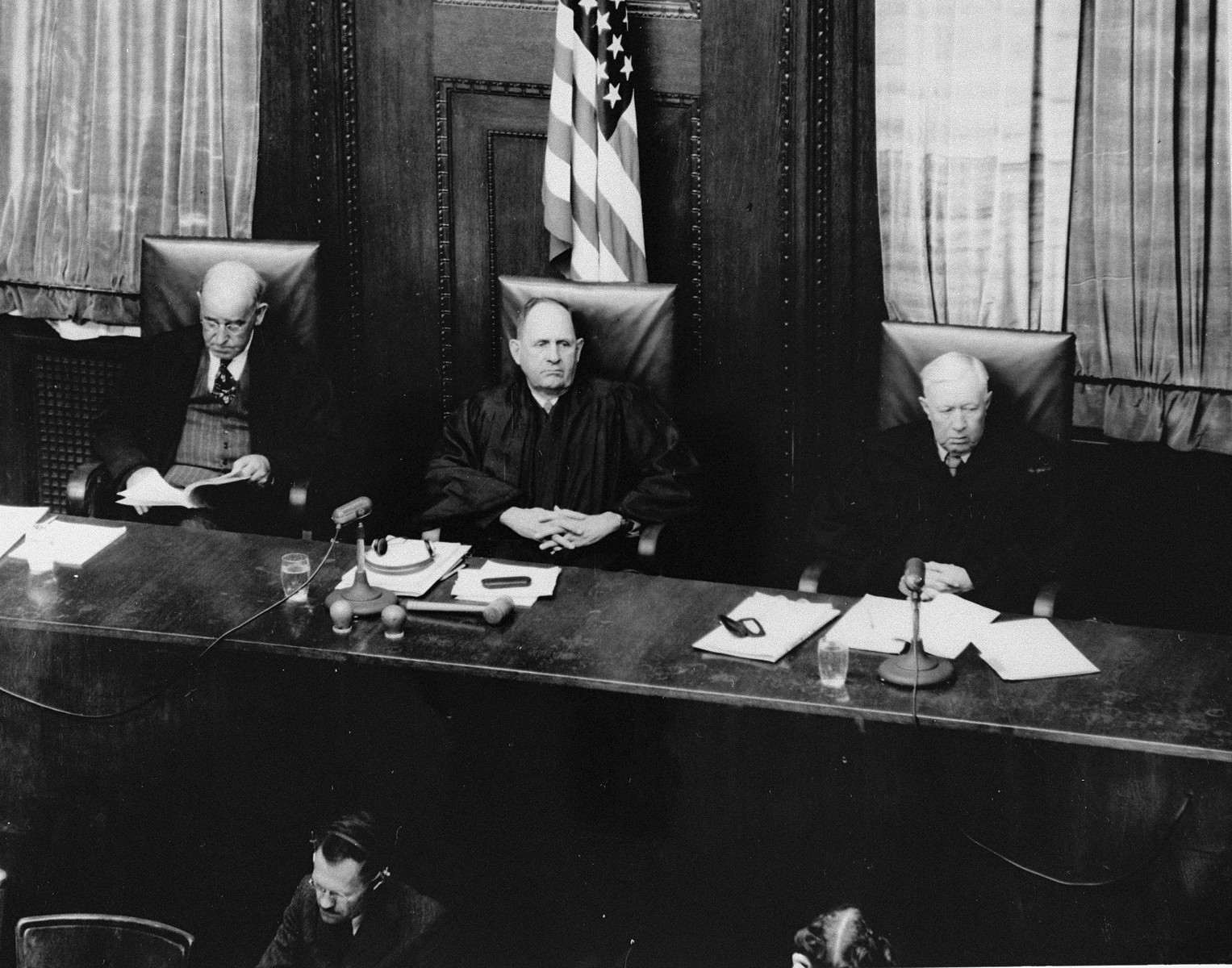 The judges of Military Tribunal I hearing the RuSHA Trial.    Pictured from left to right are: Daniel T. O'Connell, Lee B. Wyatt, and Johnson Tal Crawford.