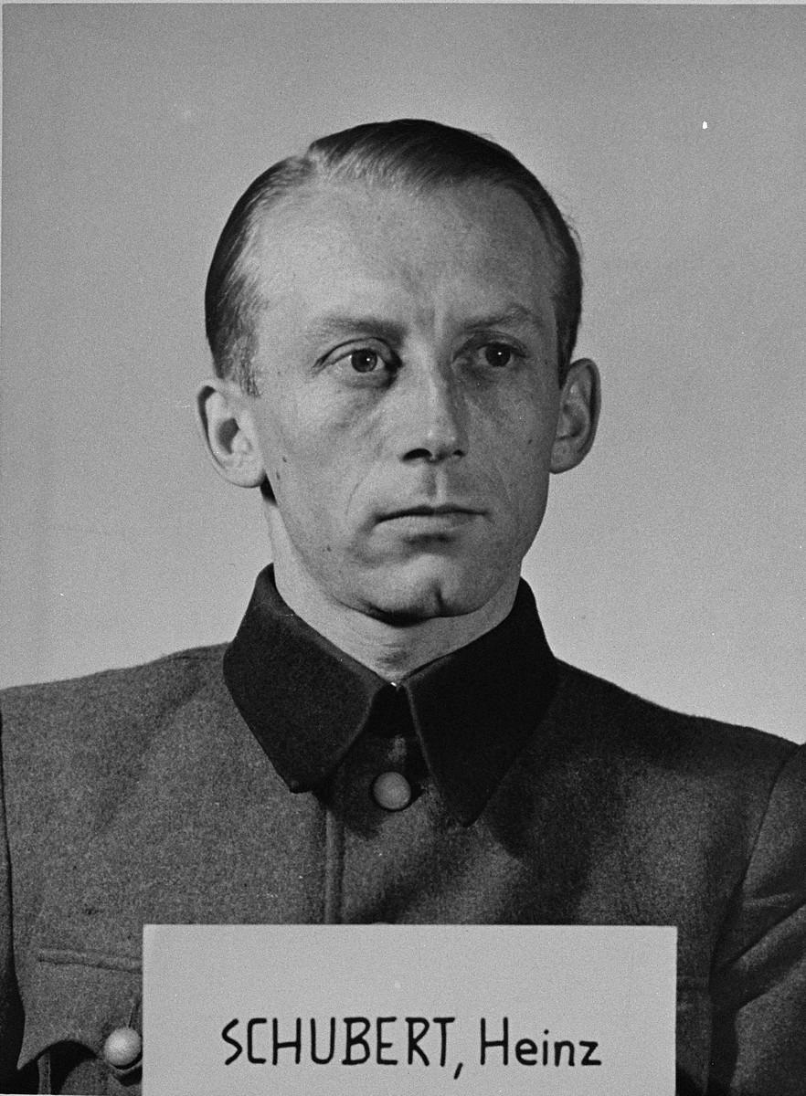 Defendant Heinz Schubert at the Einsatzgruppen Trial.  Schubert was an officer in Einsatzgruppe D.