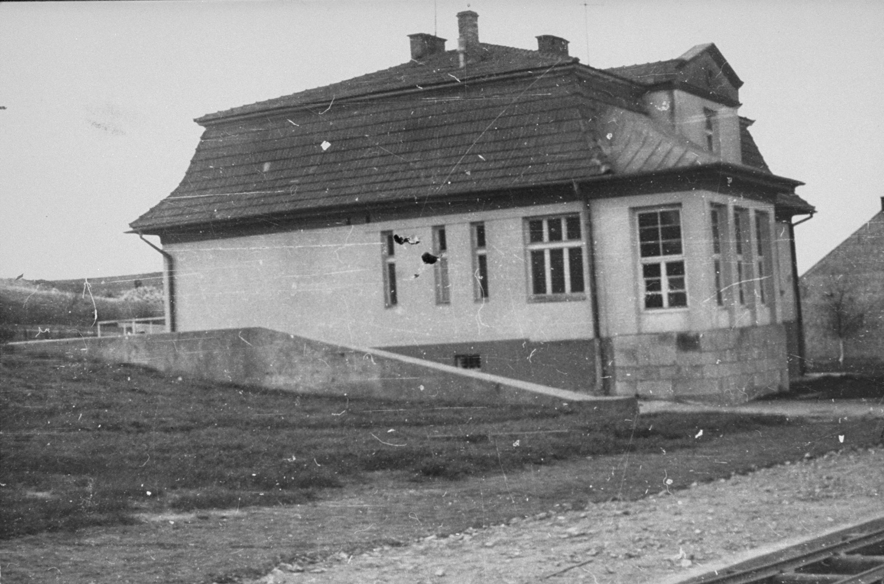 View of the villa of commandant Amon Goeth in the Plaszow concentration camp.