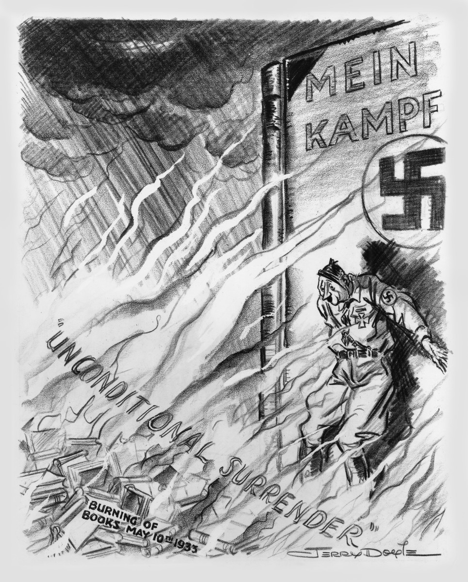 "The Council on Books in Wartime ""marked"" May 10 to commemorate the Nazi bonfires.  Its lists of burned books were incorporated into leaflets like that by the National Council of Women.  The council distributed this cartoon by Jerry Doyle, which appeared on the front page of the Philadelphia Record on May 10, 1943, with the title The Flames of Retribution."