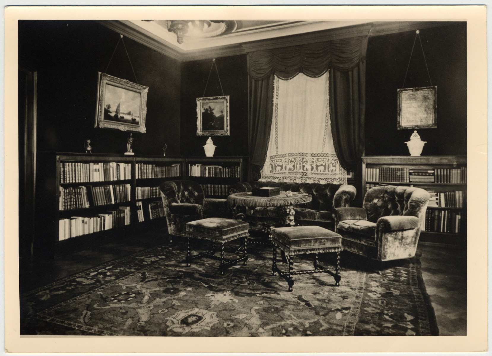 Interior view of the smoking room in the villa of a prosperous Jewish family in Prague.