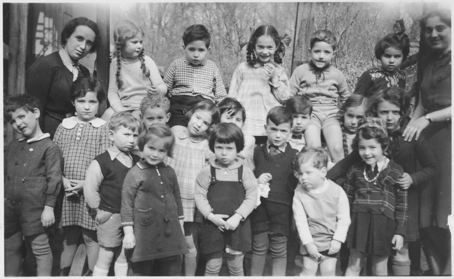 Group portrait of children in the Jewish kindergarten in Leipzig, Germany,  Among those pictured is Ruth Bild (front row, center).