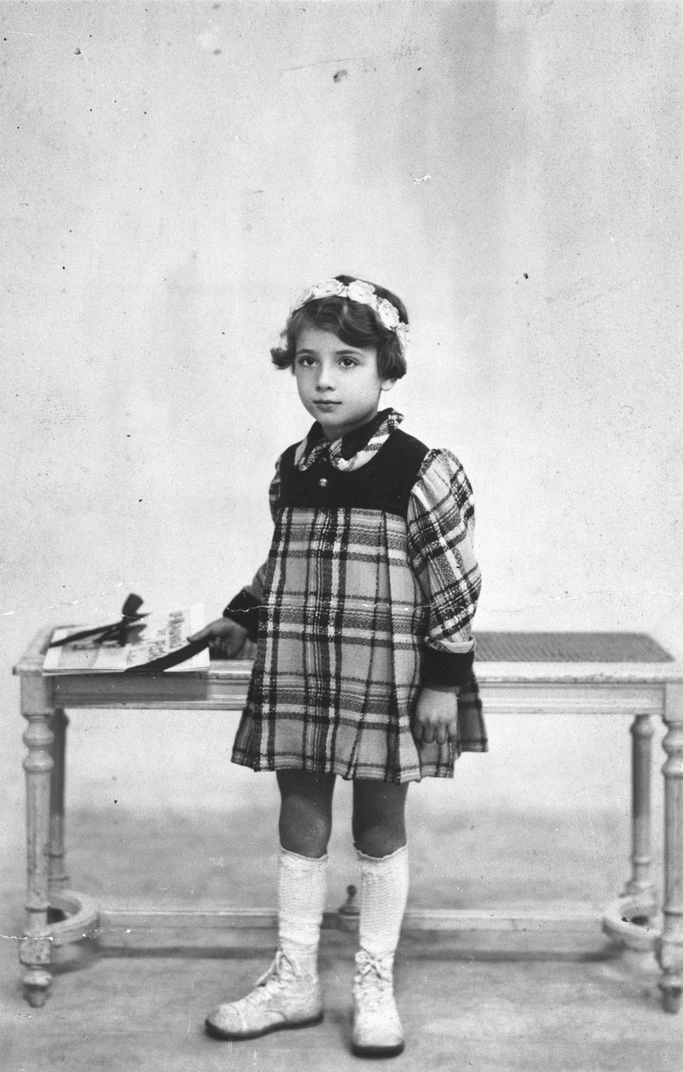 Blanche Karakowski wears a dress made by her mother before she went into hiding.