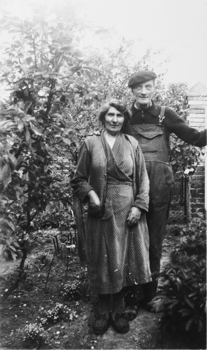 Anne and Paul Le Page, rescuers of Rene Lichtman, pose in their garden.