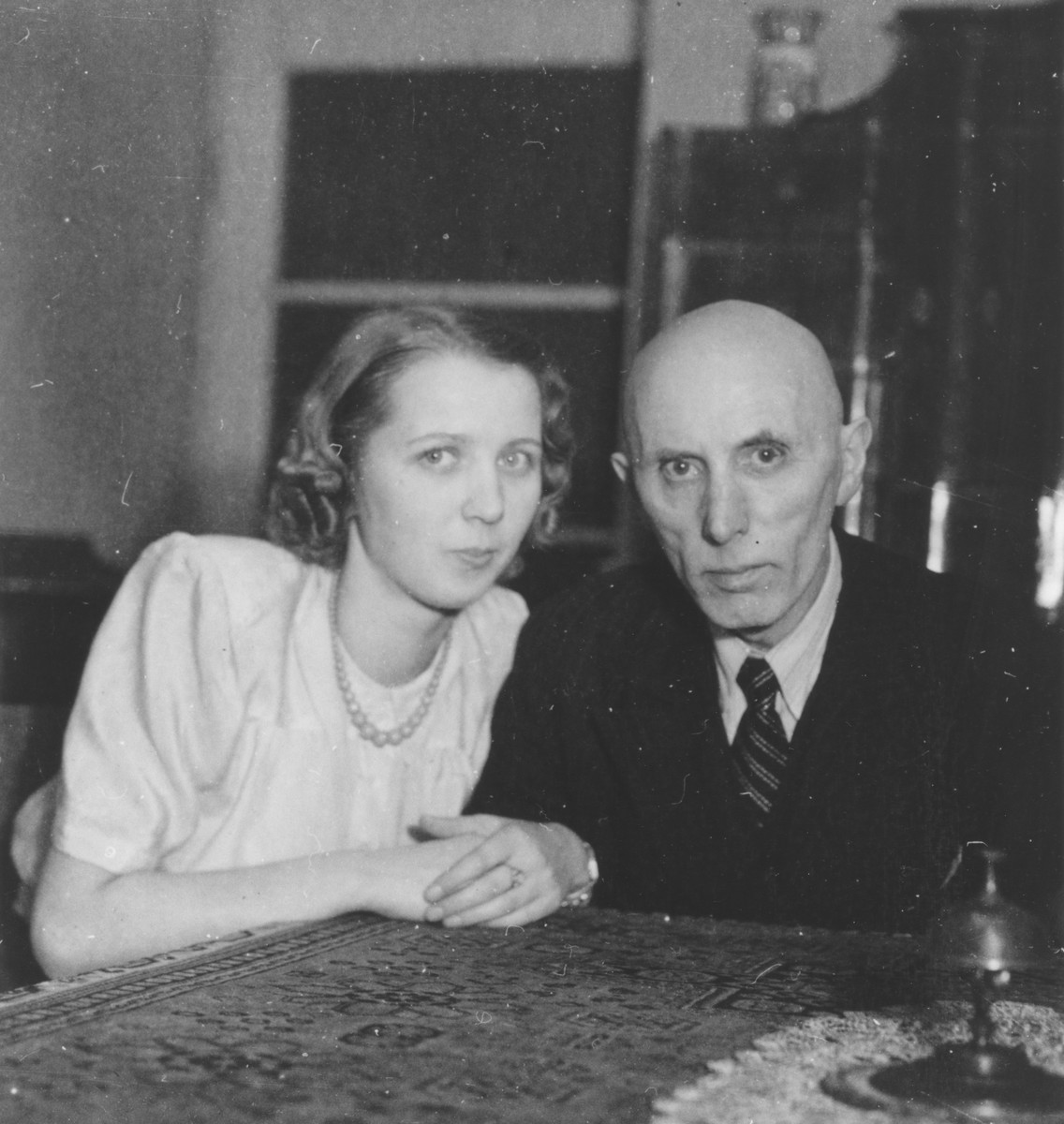 Karill Hermann poses with his daughter, Elizabeth, in their apartment in Prague during the German occupation.
