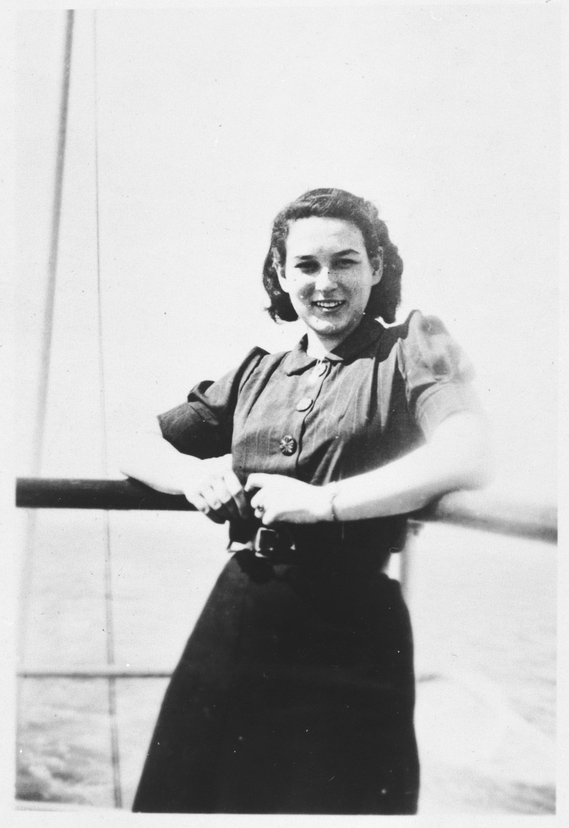 A German-Jewish refugee, Ursele Simon, poses on the deck of a ship while en route to Palestine.