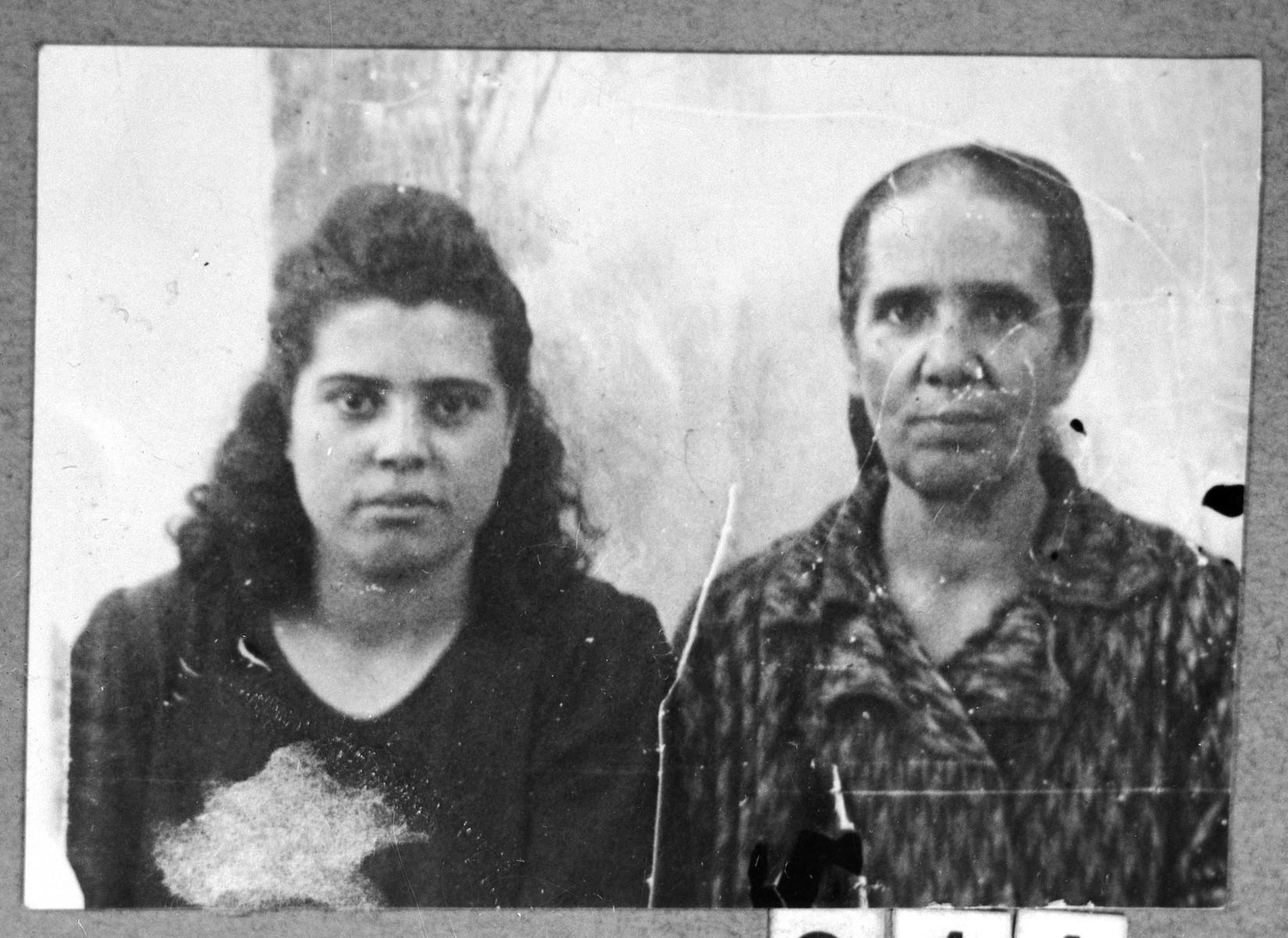 Portrait of Masaltov Russo, son of Isak Russo, and Isak's daughter, Estrea.  Estrea was a student.  They lived at Ferizovatska 30 in Bitola.