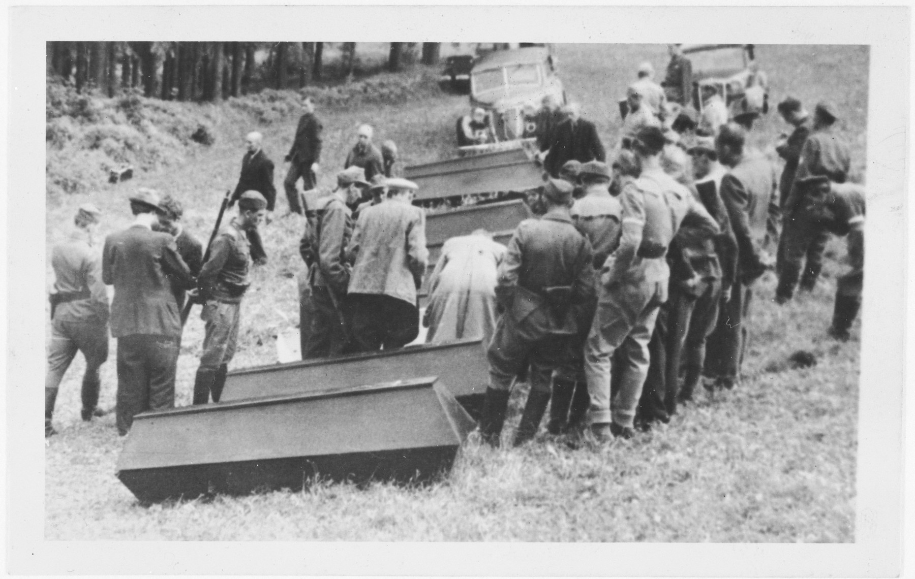 One of a series of photographs depicting the exhumation and reburial of Nazi victims in Pernink, Czechoslovakia.