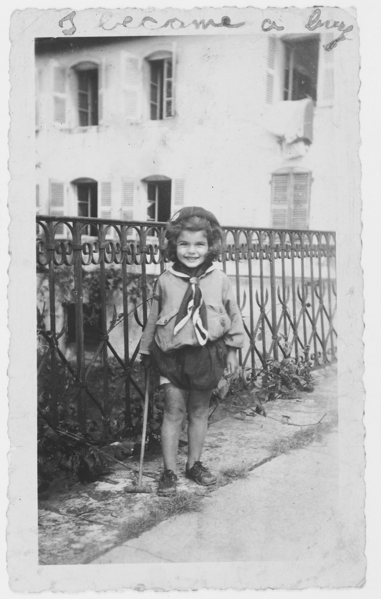 Portrait of a Jewish child, Diane Popowski, living at the home of her French rescuer, Marie Antoinette Pallarès, in Montpellier, France.