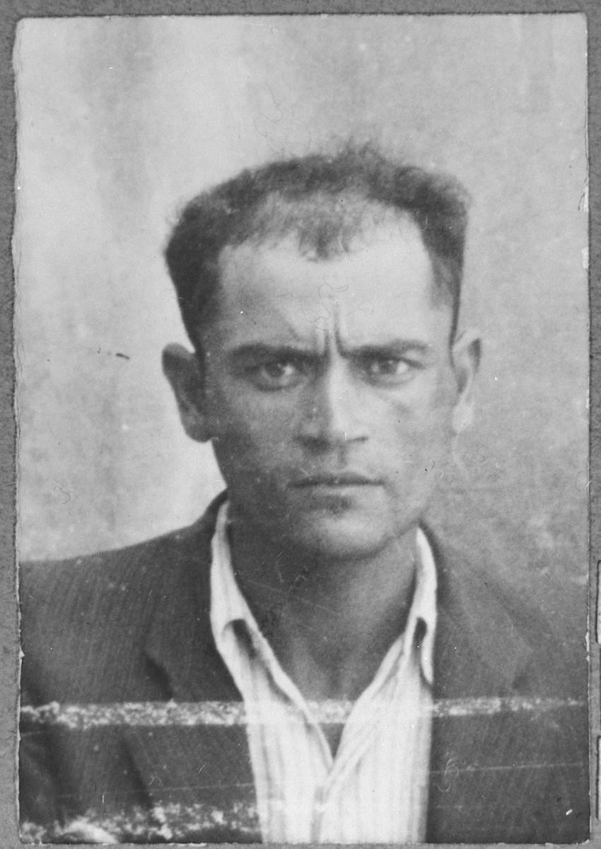 Portrait of Isak Sarfati, son of Leon Sarfati.  He was a tailor.  He lived at Herzegovatska 46 in Bitola.