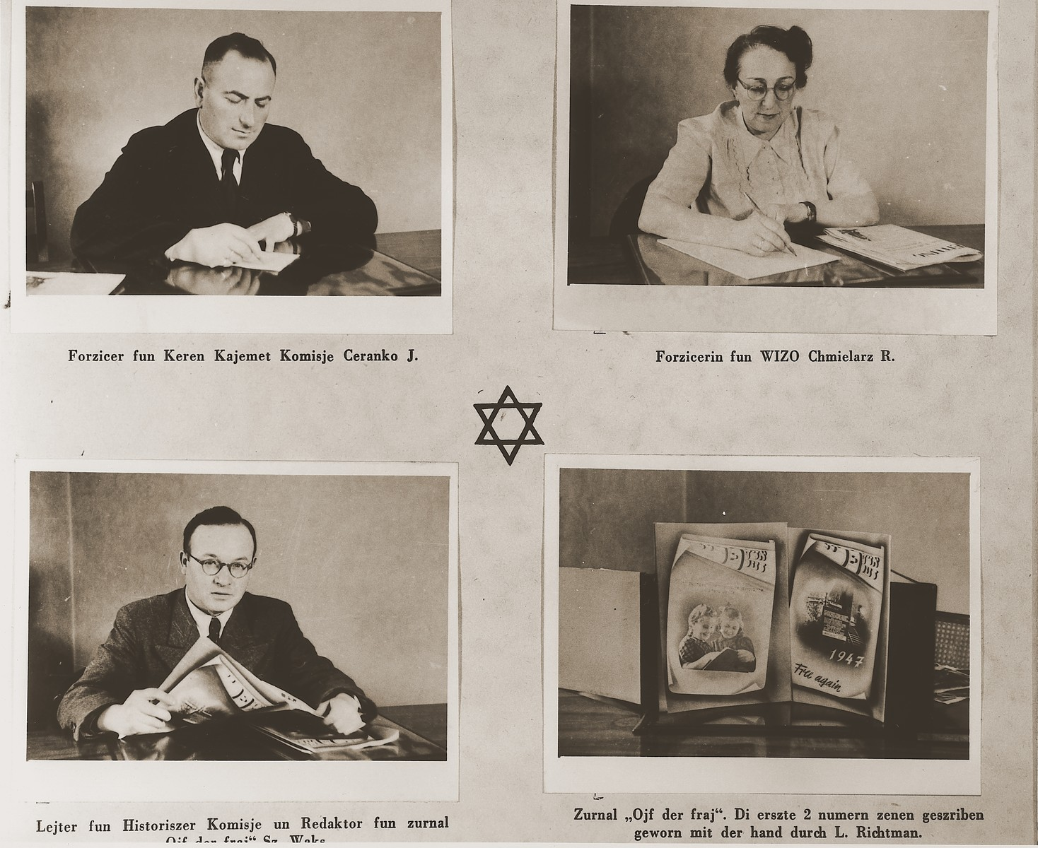 """Three images of administrators at the Stuttgart DP camp and one of DP publications.  One page from the Stuttgart Jewish DP camp album entitled, """"Jidiszer D.P. Center UNRRA--P.C.IRO in Stuttgart,"""" compiled and photographed by Alexander Fiedel and dedicated to Moses Kornberg, head of the commissary."""