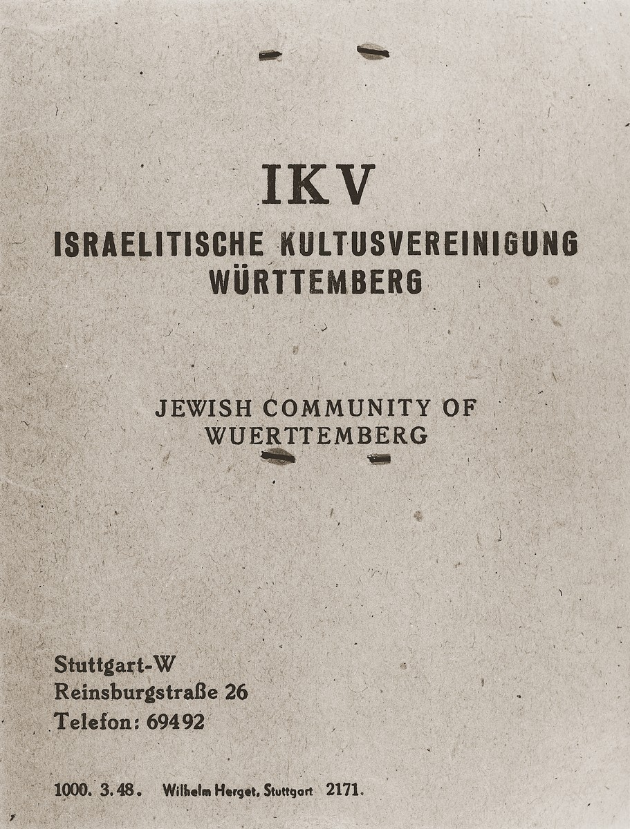 Identification papers for Moses Kornberg issued by the Jewish community of Wuerttemberg in Stuttgart.