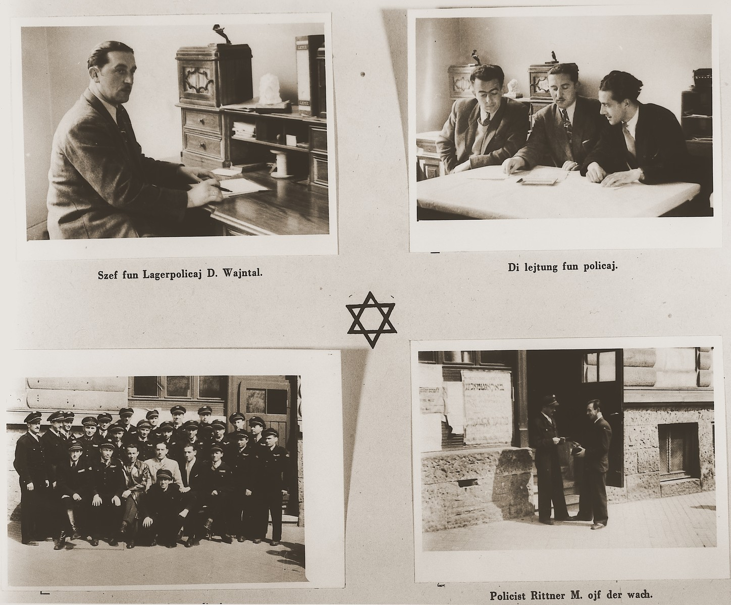 "Four images of members of the Jewish police force at the Stuttgart DP camp.  Among those pictured are D. Wajntal and M. Rittner.  One page from the Stuttgart Jewish DP camp album entitled, ""Jidiszer D.P. Center UNRRA--P.C.IRO in Stuttgart,"" compiled and photographed by Alexander Fiedel and dedicated to Moses Kornberg, head of the commissary."