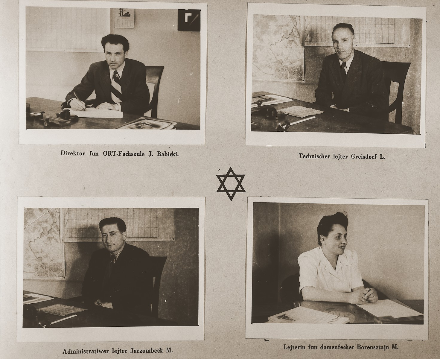 "Four images of administrators at the Stuttgart DP camp.  Among those pictured are J. Babicki, L. Greisdorf, M. Jarzombeck and M. Borensztajn.  One page from the Stuttgart Jewish DP camp album entitled, ""Jidiszer D.P. Center UNRRA--P.C.IRO in Stuttgart,"" compiled and photographed by Alexander Fiedel and dedicated to Moses Kornberg, head of the commissary."