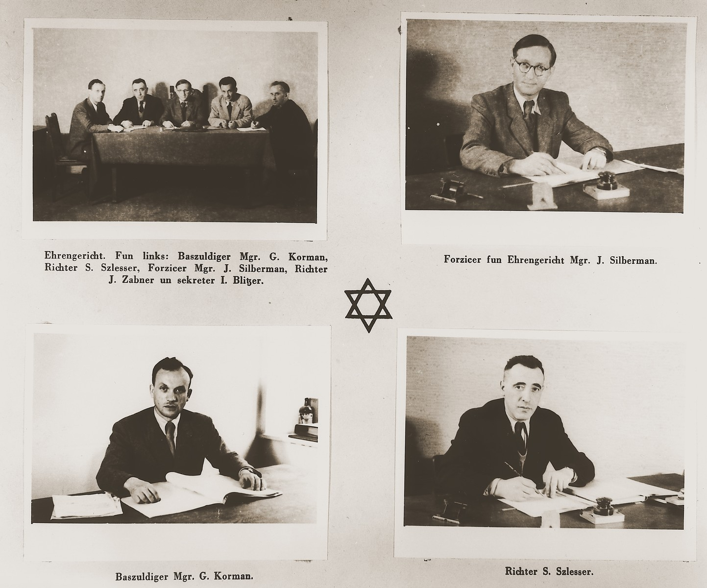 """Four images of administrators at the Stuttgart DP camp.  Among those pictured are G. Korman, S. Szlesser, J. Silberman, J. Zabner and I. Blitzer.  One page from the Stuttgart Jewish DP camp album entitled, """"Jidiszer D.P. Center UNRRA--P.C.IRO in Stuttgart,"""" compiled and photographed by Alexander Fiedel and dedicated to Moses Kornberg, head of the commissary."""