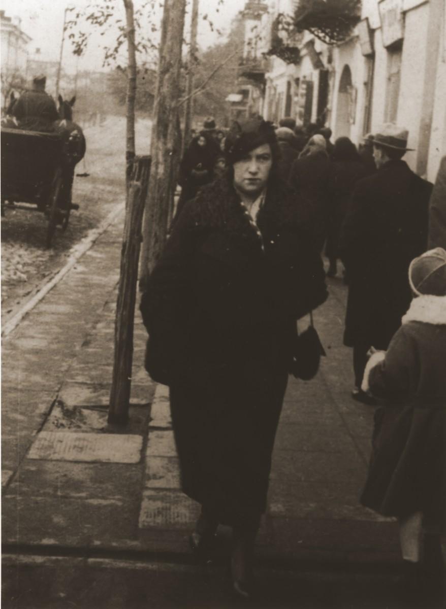Sara Berland walks along Lubelska Street in Chelm.