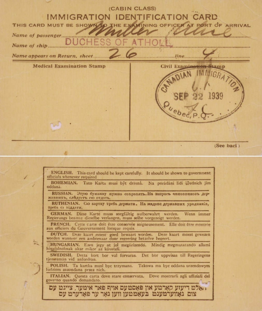 Immigration identification card (front and reverse side), dated September 22, 1939, for the Jewish refugee child, Alice Muller, who arrived in Montreal aboard the SS Duchess of Atholl.