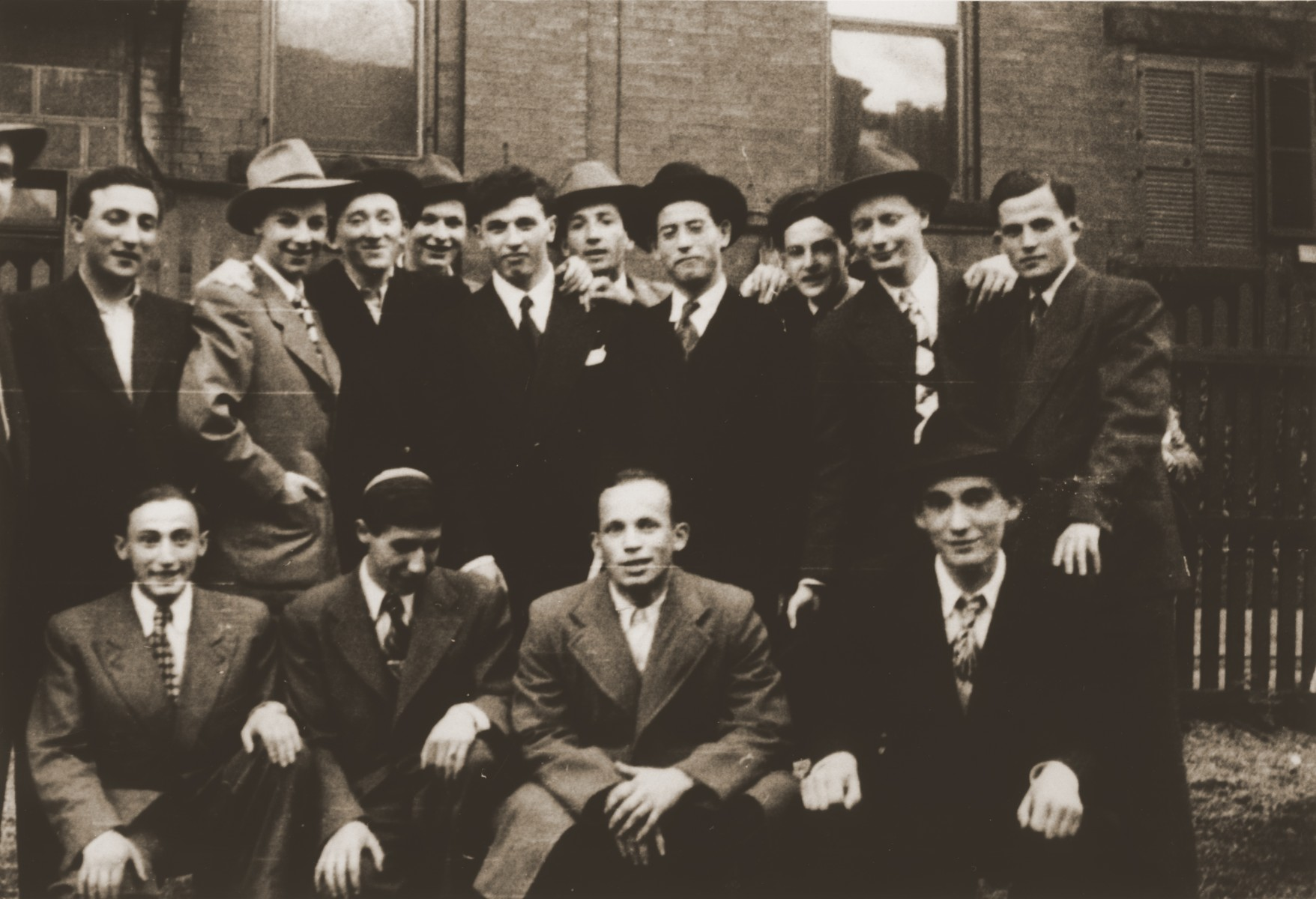 Group portrait of young Jewish men at the Kloster Indersdorf DP children's center.