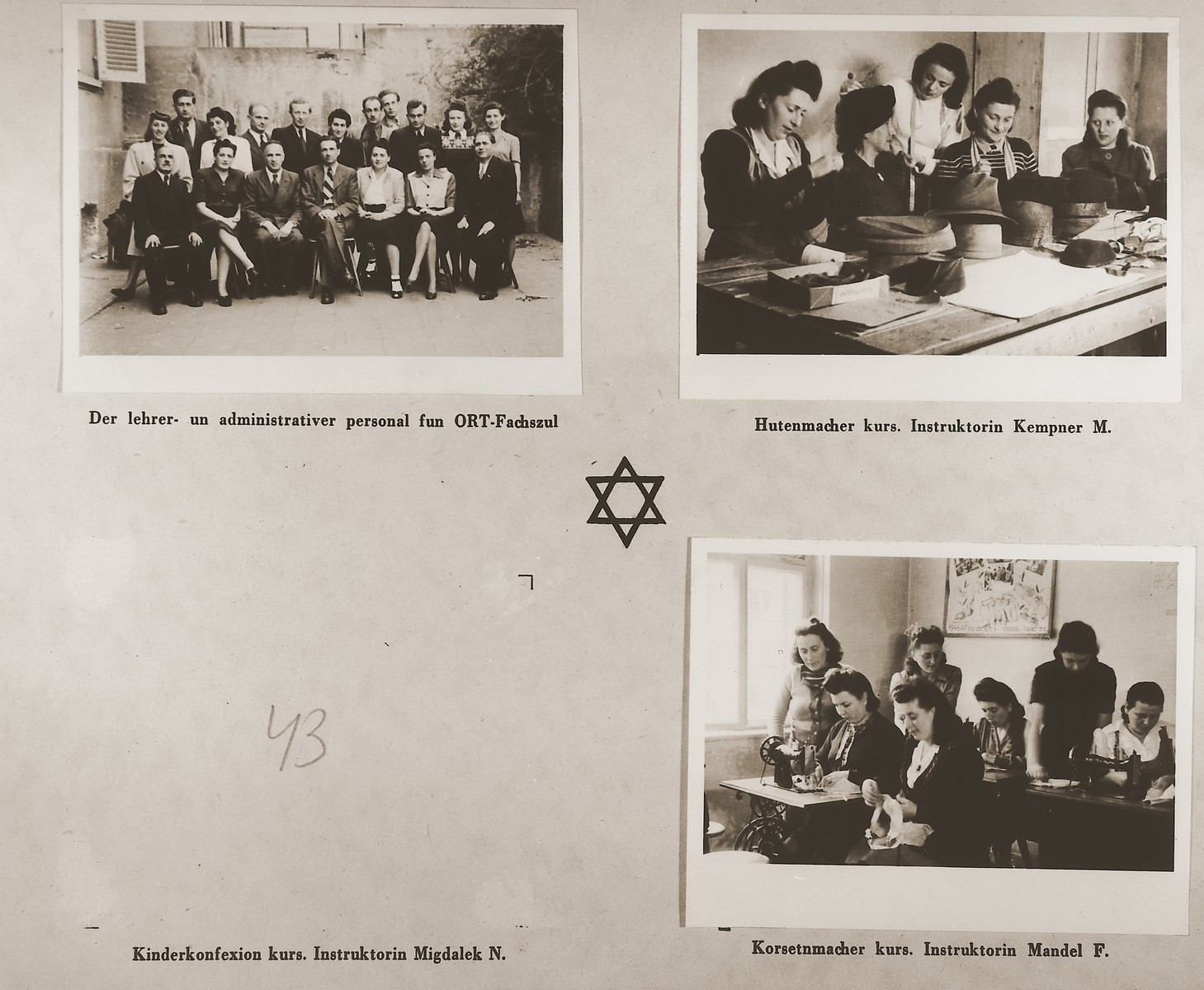 """Three images of the faculty, students and classes at the ORT vocational training school in the Stuttgart DP camp.  Among those pictured are M. Kempner and F. Mandel.  One page from the Stuttgart Jewish DP camp album entitled, """"Jidiszer D.P. Center UNRRA--P.C.IRO in Stuttgart,"""" compiled and photographed by Alexander Fiedel and dedicated to Moses Kornberg, head of the commissary."""