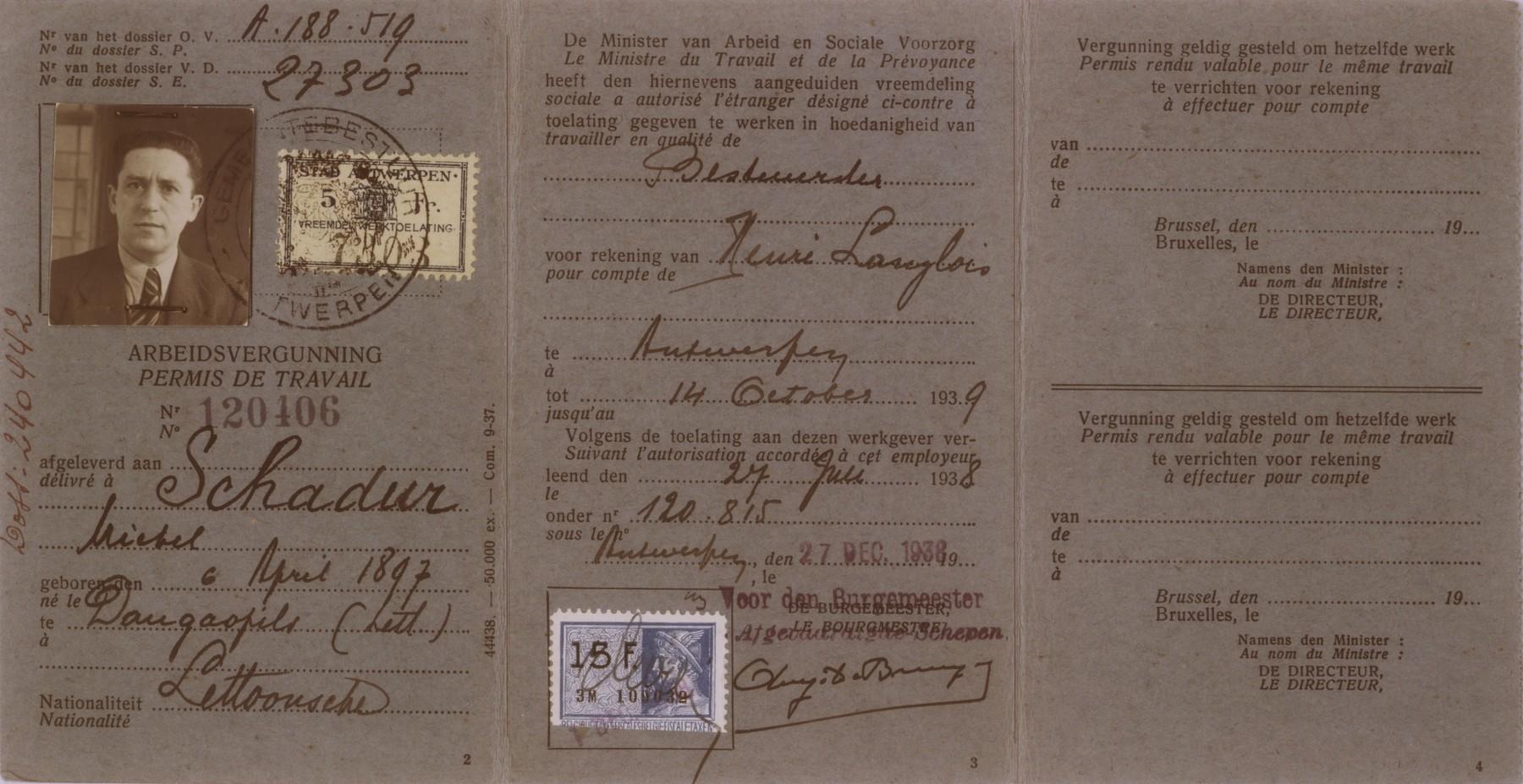Work permit issued to Michel Schadur, a Jewish refugee living in Antwerp.