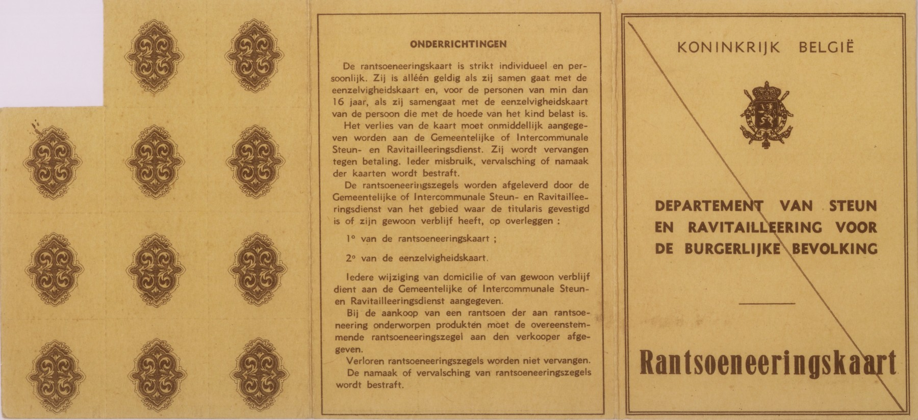 Ration card issued to Joseph Schadur, a Jewish refugee living in Antwerp.