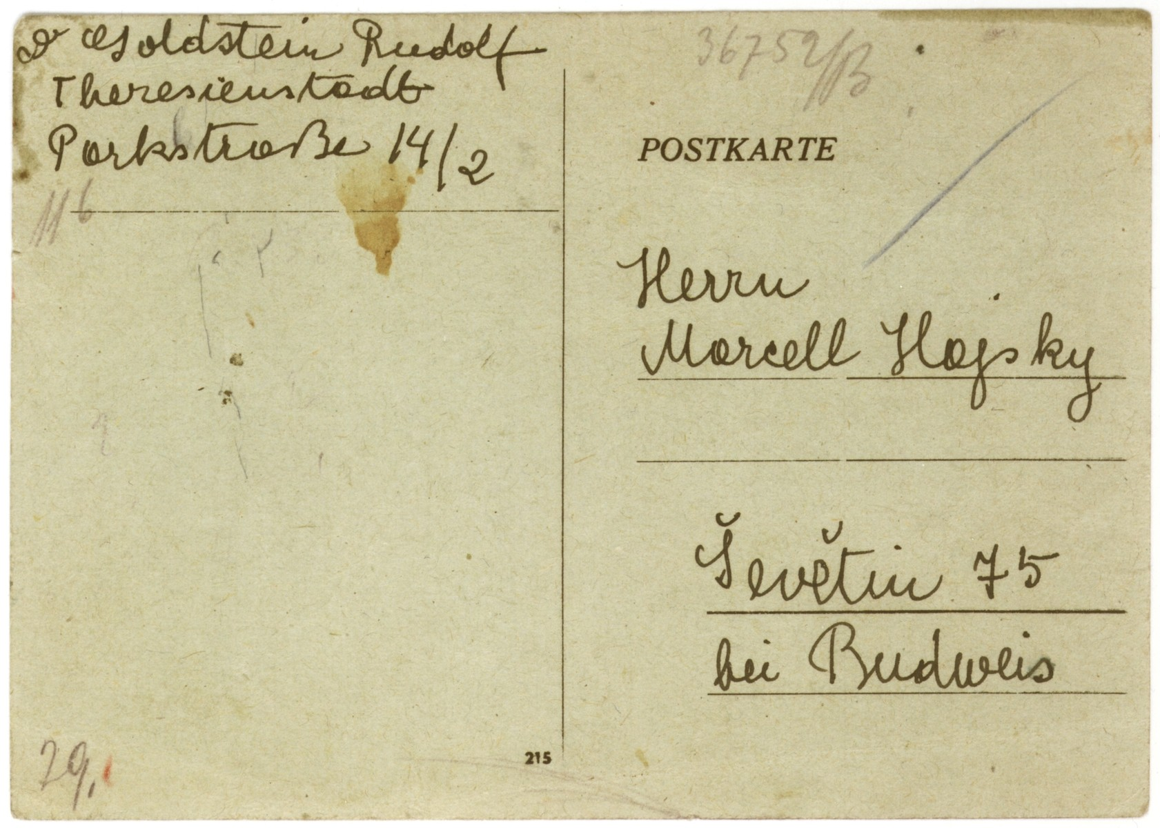 A postcard sent to Marcel Hajsky by his uncle, Rudolf Goldstein, from the Theresienstadt concentration camp.  Rudolf writes that Marcel's mother, Anna (Goldstein) Hajsky, and grandmother, Fanny Goldstein, are healthy, but that his aunt, Marie (Goldstein) Klepetar, is no longer in Theresienstadt.  Rudolf also thanks Marcel for the care package he sent them and writes that Anna would like to receive photographs of Marcel and his brother, Jan.  Fanny sends the children her love.  Marcel and Jan were able to escape deportation because their father, Cenek Hajsky, was not Jewish.