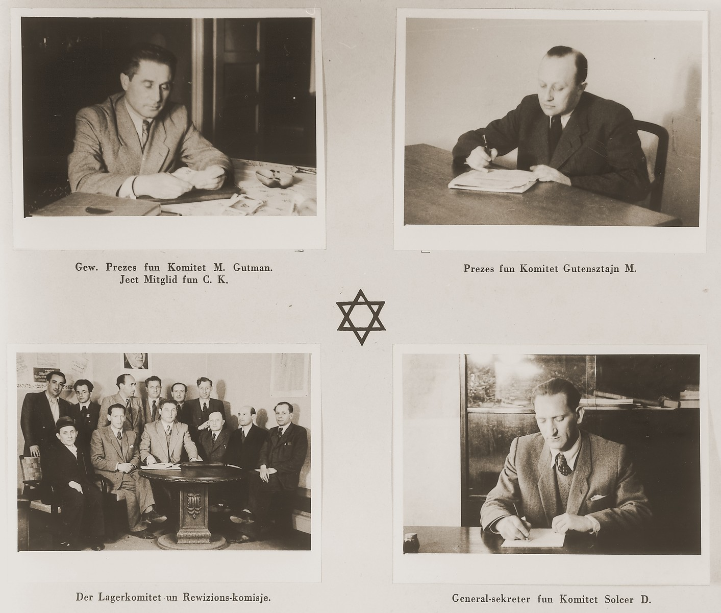 """Four images of members of the Stuttgart DP camp committee in their offices.  Among those pictured are M. Gutman, M. Gutensztajn, and D. Solcer.  One page from the Stuttgart Jewish DP camp album entitled, """"Jidiszer D.P. Center UNRRA--P.C.IRO in Stuttgart,"""" compiled and photographed by Alexander Fiedel and dedicated to Moses Kornberg, head of the commissary."""