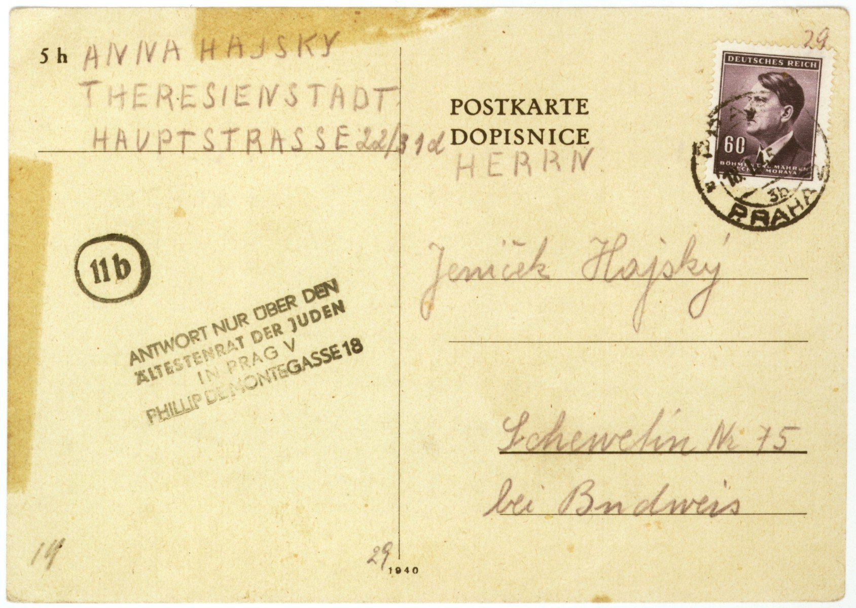 A postcard sent to Marcel and Jan Hajsky by their mother, Anna (Goldstein) Hajsky, from the Theresienstadt concentration camp.    Anna writes that she and her mother, Fanny Goldstein, received the boys' postcard dated November 25, 1944, and that they are healthy.  The two await news from Marcel and Jan, as well as a care package.  Anna asks if her sons had a Christmas tree for the holidays.  Marcel and Jan were able to escape deportation because their father, Cenek Hajsky, was not Jewish.