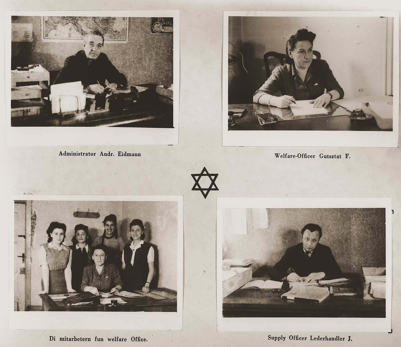 "Four images of members of the Stuttgart DP camp administration in their offices.  Among those pictured are A. Eidmann, F. Gutsztat and J. Lederhandler.  One page from the Stuttgart Jewish DP camp album entitled, ""Jidiszer D.P. Center UNRRA--P.C.IRO in Stuttgart,"" compiled and photographed by Alexander Fiedel and dedicated to Moses Kornberg, head of the commissary."