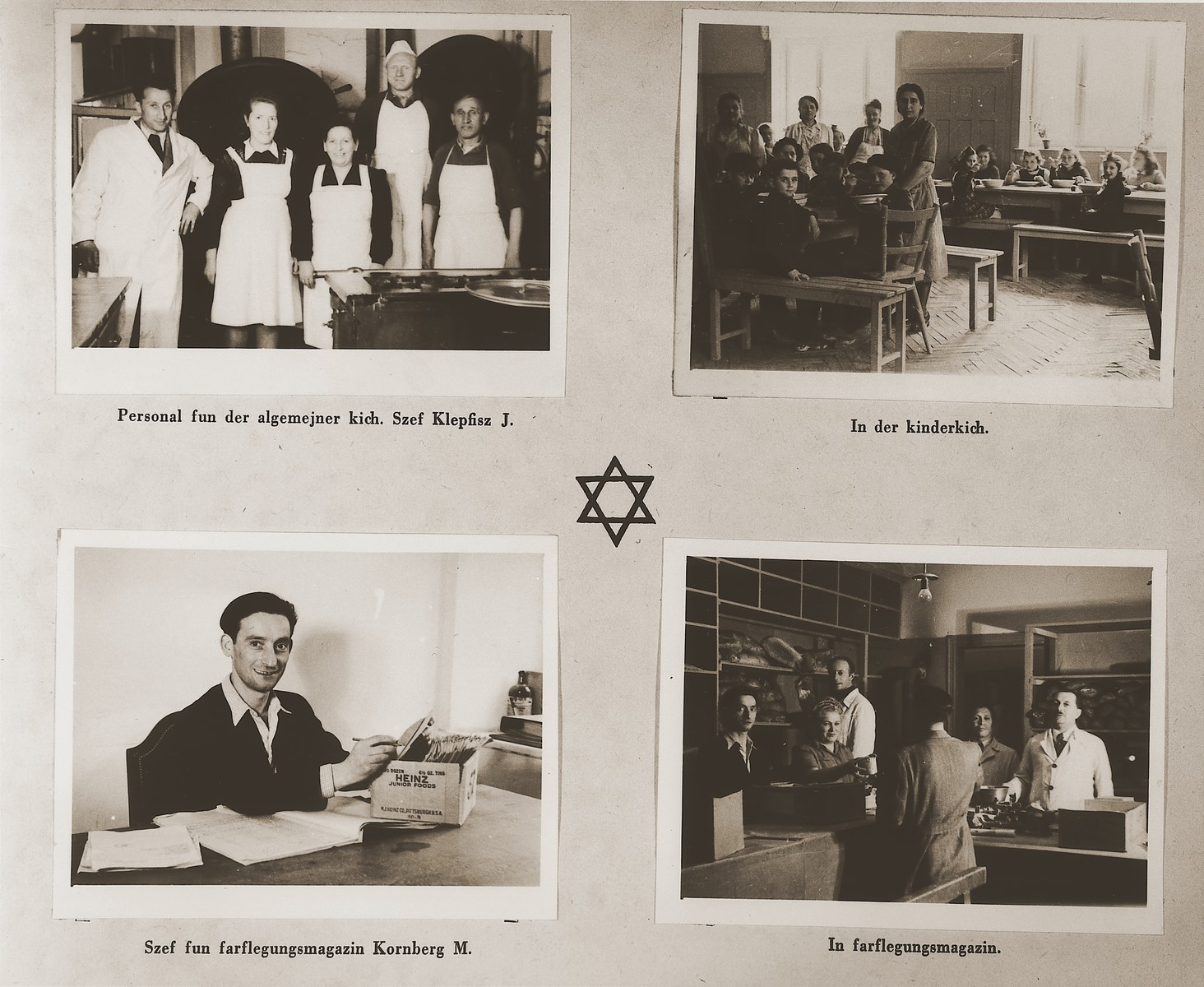 "Four images of the Stuttgart DP camp kitchens and commissary.  Among those pictured are J. Klepfisz, Shamai (Sam) Greenberg, and Moses Kornberg.  One page from the Stuttgart Jewish DP camp album entitled, ""Jidiszer D.P. Center UNRRA--P.C.IRO in Stuttgart,"" compiled and photographed by Alexander Fiedel and dedicated to Moses Kornberg, head of the commissary."