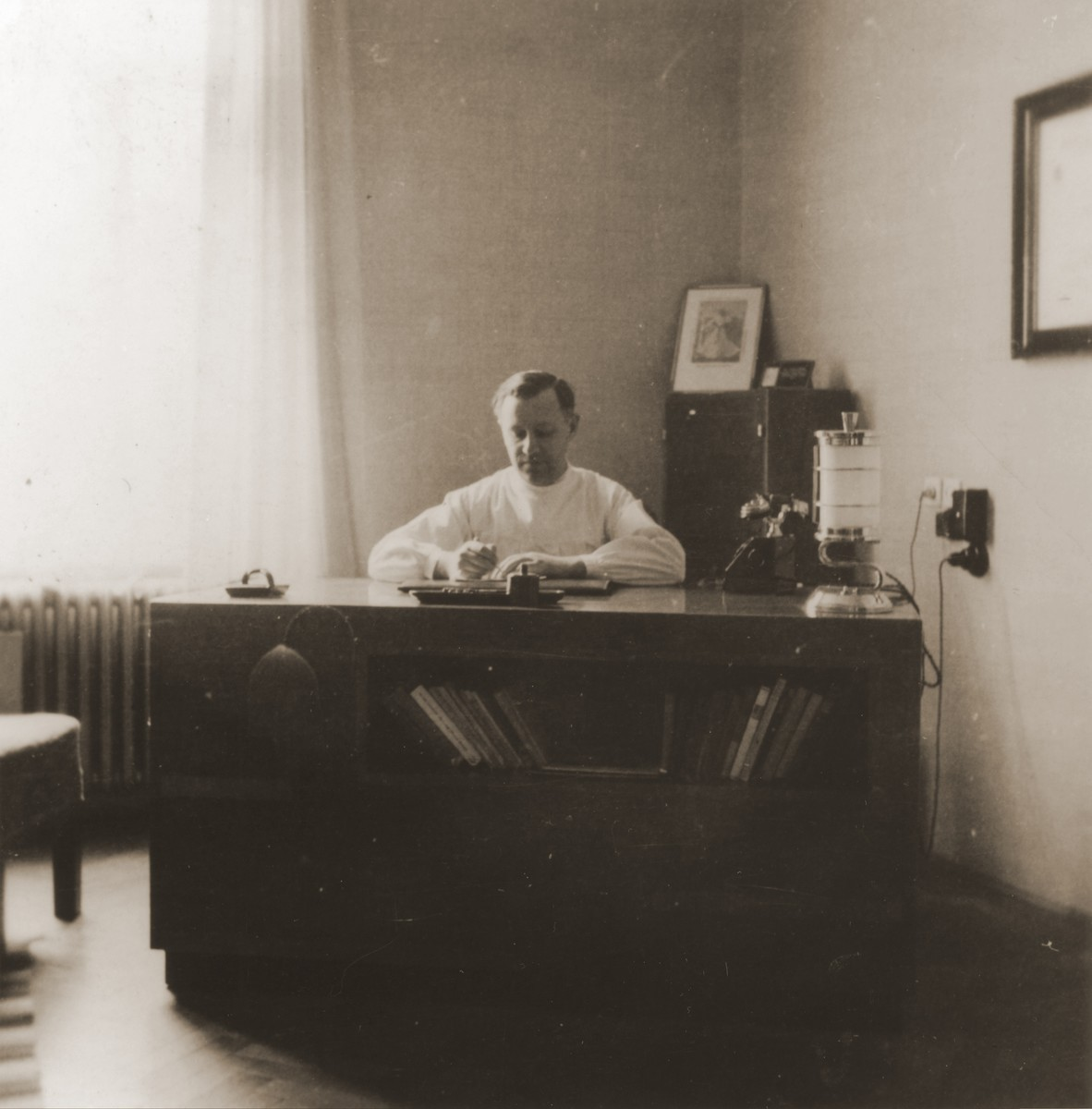 The Jewish obstetrician, Dr. László Halmos, works at his office on Vodna Street in Kosice.