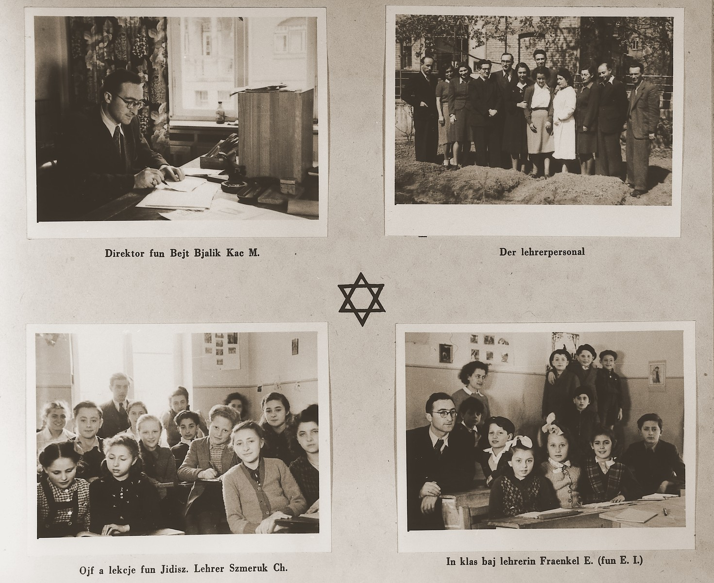 """Four images of students and teachers at the elementary school in the Stuttgart DP camp.  Among those pictured are M. Kac and E. Fraenkel.  In the lower left photo is Lova Warszawczyk (now Warick).   In the lower right photo, Jack Krampf is on the far right and Herbert Breite is next to the teacher.  One page from the Stuttgart Jewish DP camp album entitled, """"Jidiszer D.P. Center UNRRA--P.C.IRO in Stuttgart,"""" compiled and photographed by Alexander Fiedel and dedicated to Moses Kornberg, head of the commissary."""