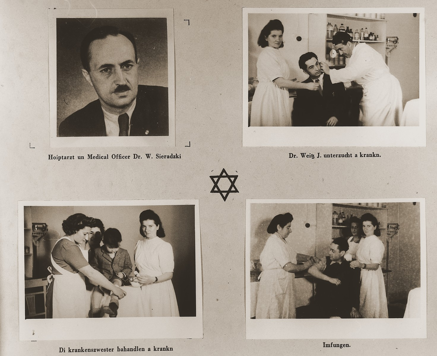 "Four images of the Stuttgart DP camp medical staff.  Three of them are taken in the clinic, while the doctors and nurses are tending to their patients.  Among those pictured are Dr. W. Sieradzki and Dr. J. Weitz.  One page from the Stuttgart Jewish DP camp album entitled, ""Jidiszer D.P. Center UNRRA--P.C.IRO in Stuttgart,"" compiled and photographed by Alexander Fiedel and dedicated to Moses Kornberg, head of the commissary."