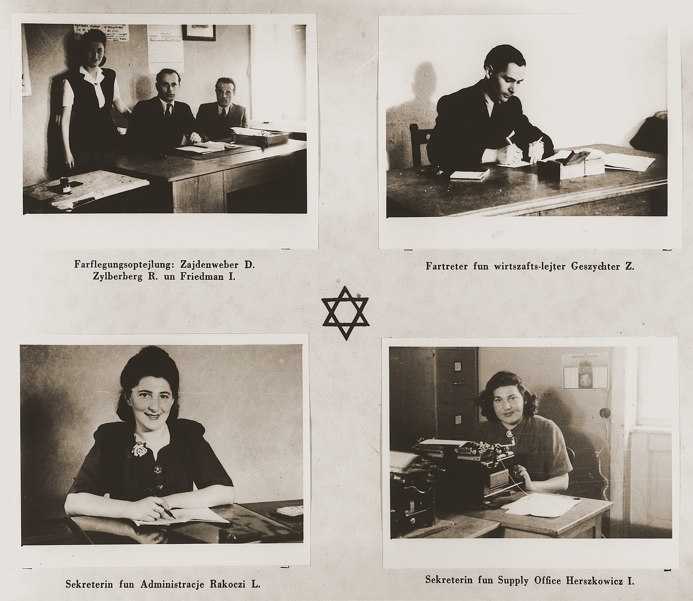 "Four images of members of the Stuttgart DP camp administration in their offices.  Among those pictured are Dora Zajdenweber, R. Zylberberg, I. Friedman, Z. Geszychter, L. Rakoczi and I. Herszkowicz.  One page from the Stuttgart Jewish DP camp album entitled, ""Jidiszer D.P. Center UNRRA--P.C.IRO in Stuttgart,"" compiled and photographed by Alexander Fiedel and dedicated to Moses Kornberg, head of the commissary."