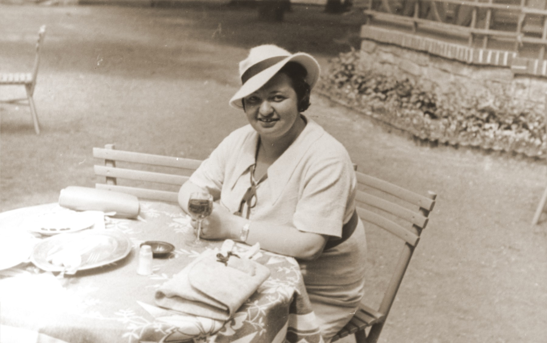 Portrait of the donor, Magda Herzog Muller, at an outdoor cafe in a resort in Czechoslovakia.