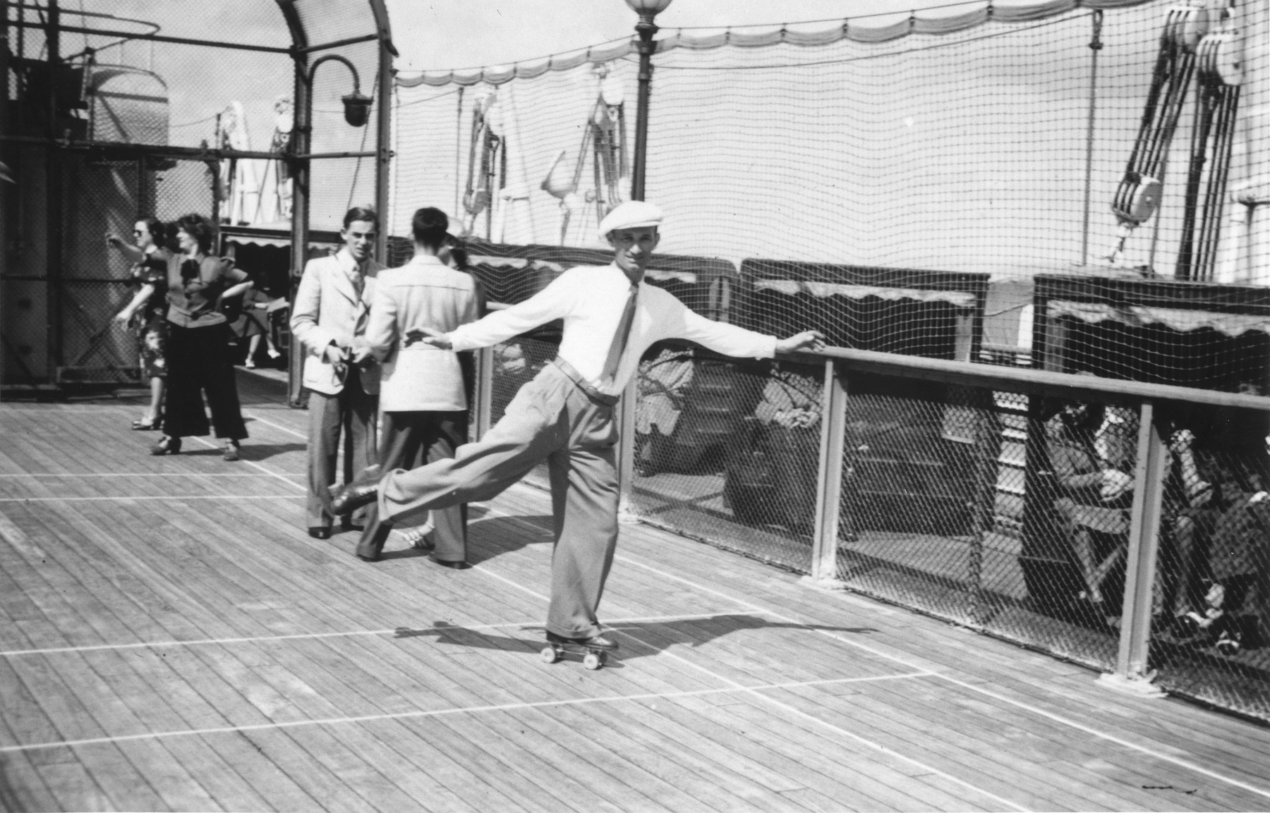 Jewish refugee Georg Lenneberg roller skates on the deck of the MS St. Louis.