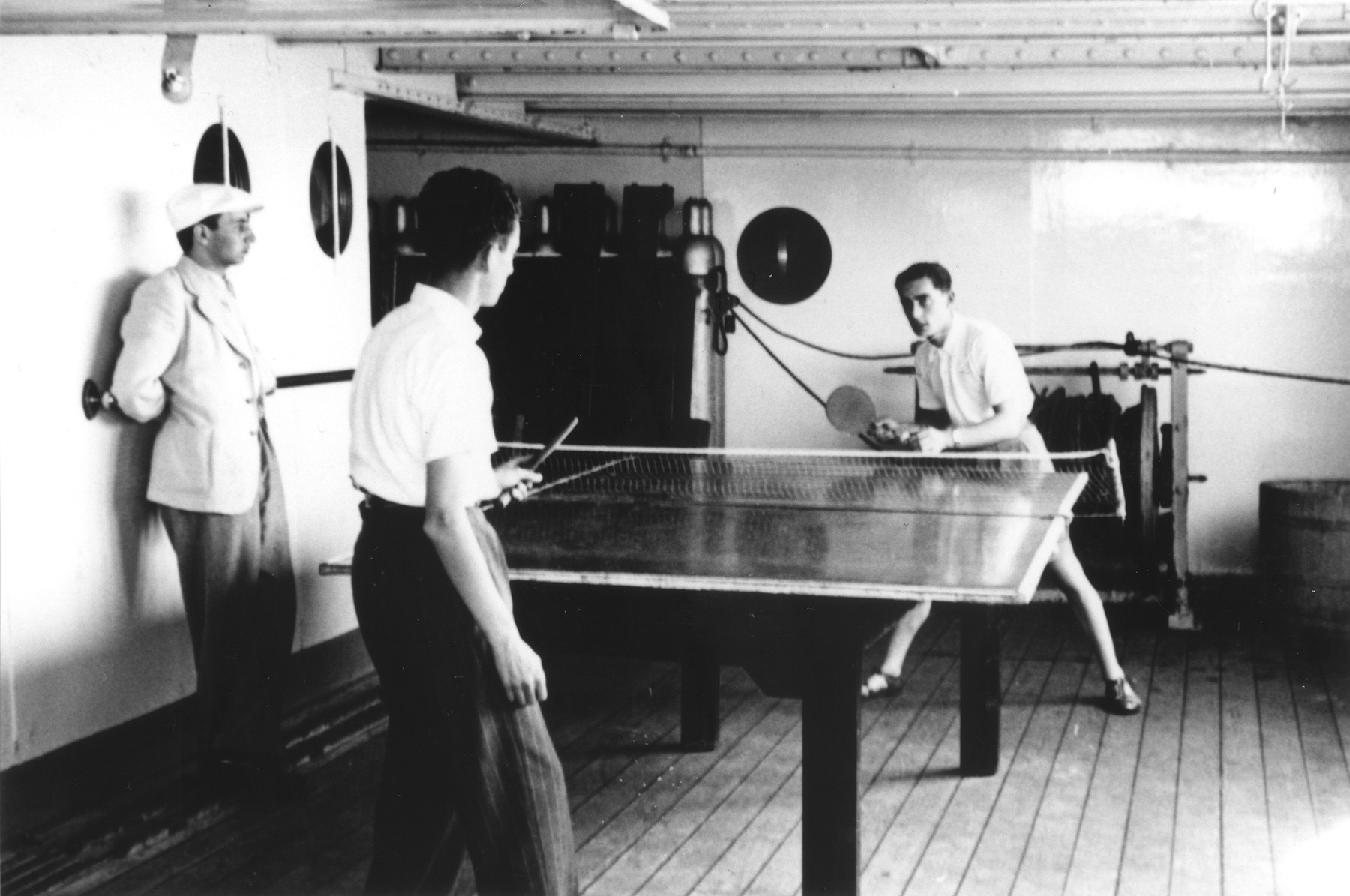 Fritz Buff (right) plays pingpong on board the MS St. Louis.