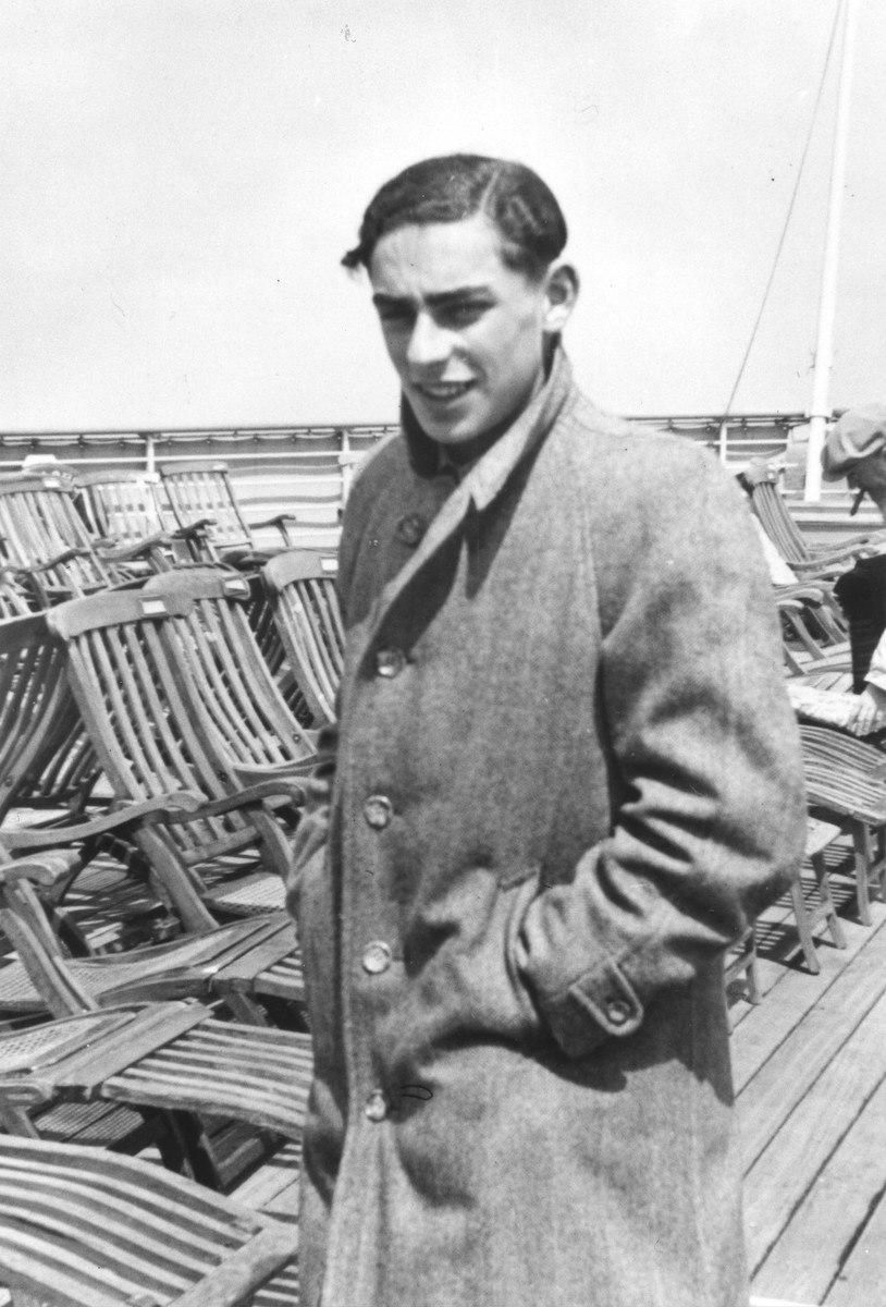 Portrait of Fritz Buff standing on the deck of the MS St. Louis.