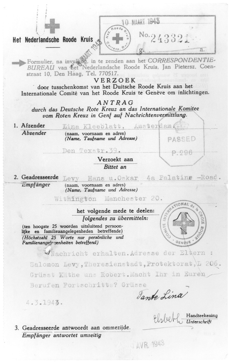 Red Cross letter sent by a German Jewish refugee in