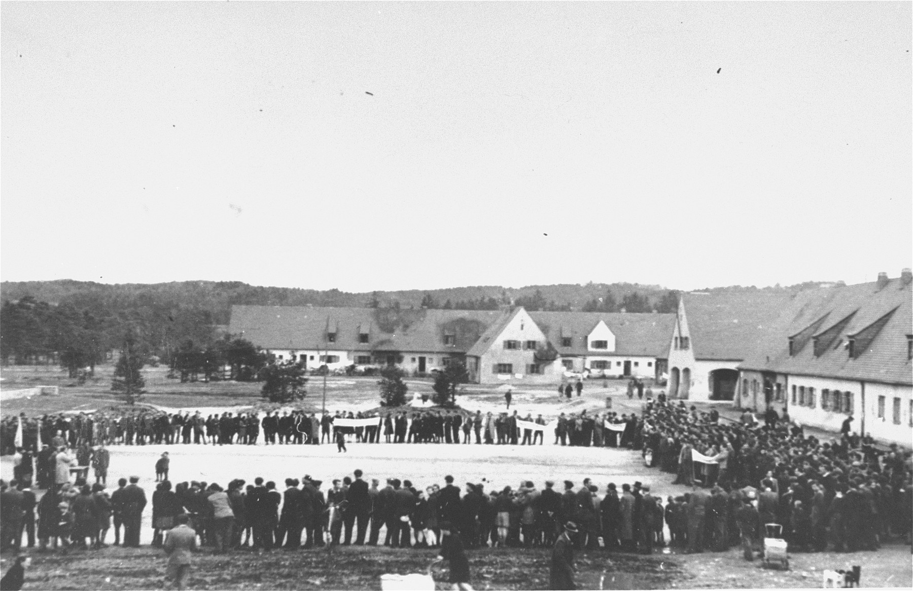 View of an anti-British demonstration at the Foehrenwald displaced persons camp.