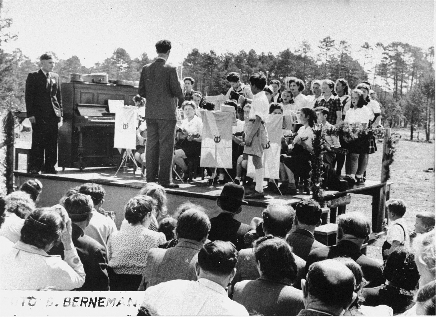 The children's orchestra at the Foehrenwald displaced persons camp performs during a Lag B'Omer celebration.