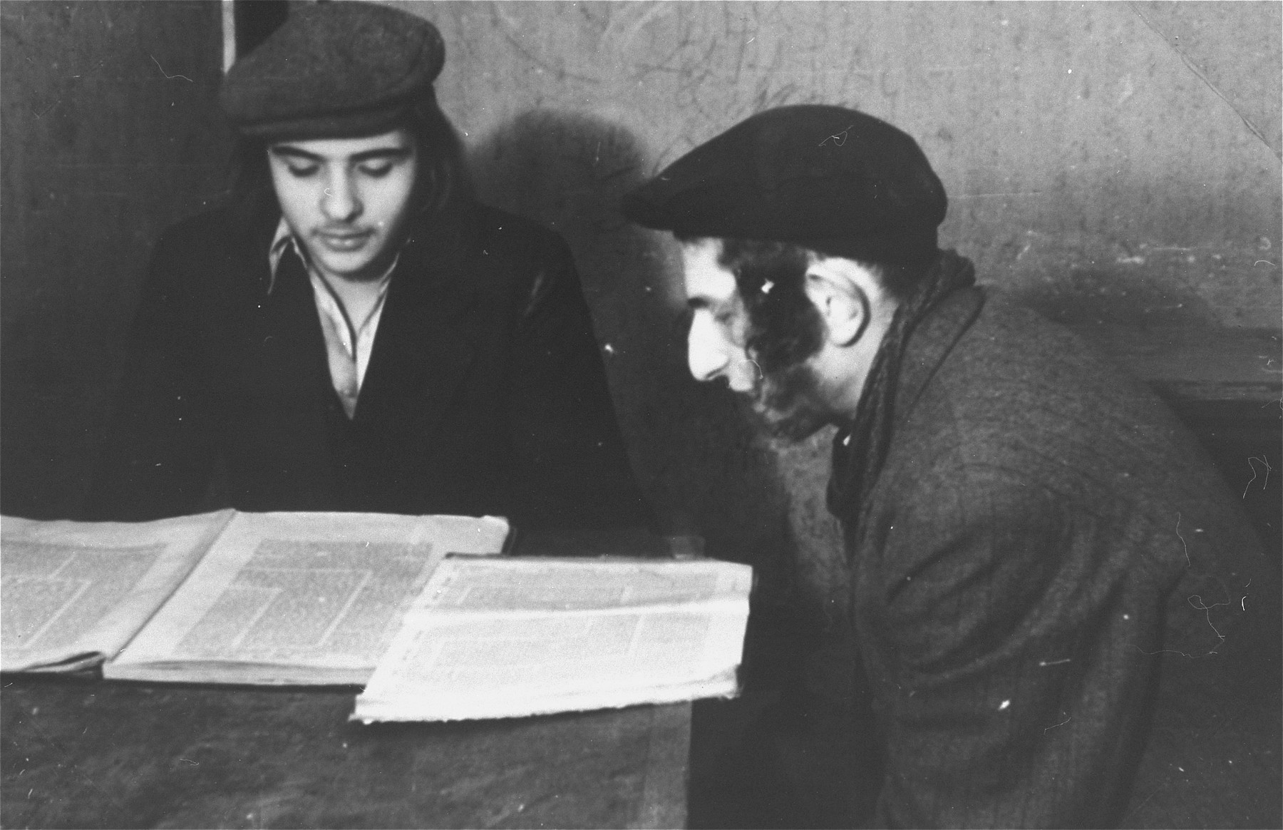 Students study Talmud at the Beth Josef Yeshiva in the Zeilsheim displaced persons' camp.