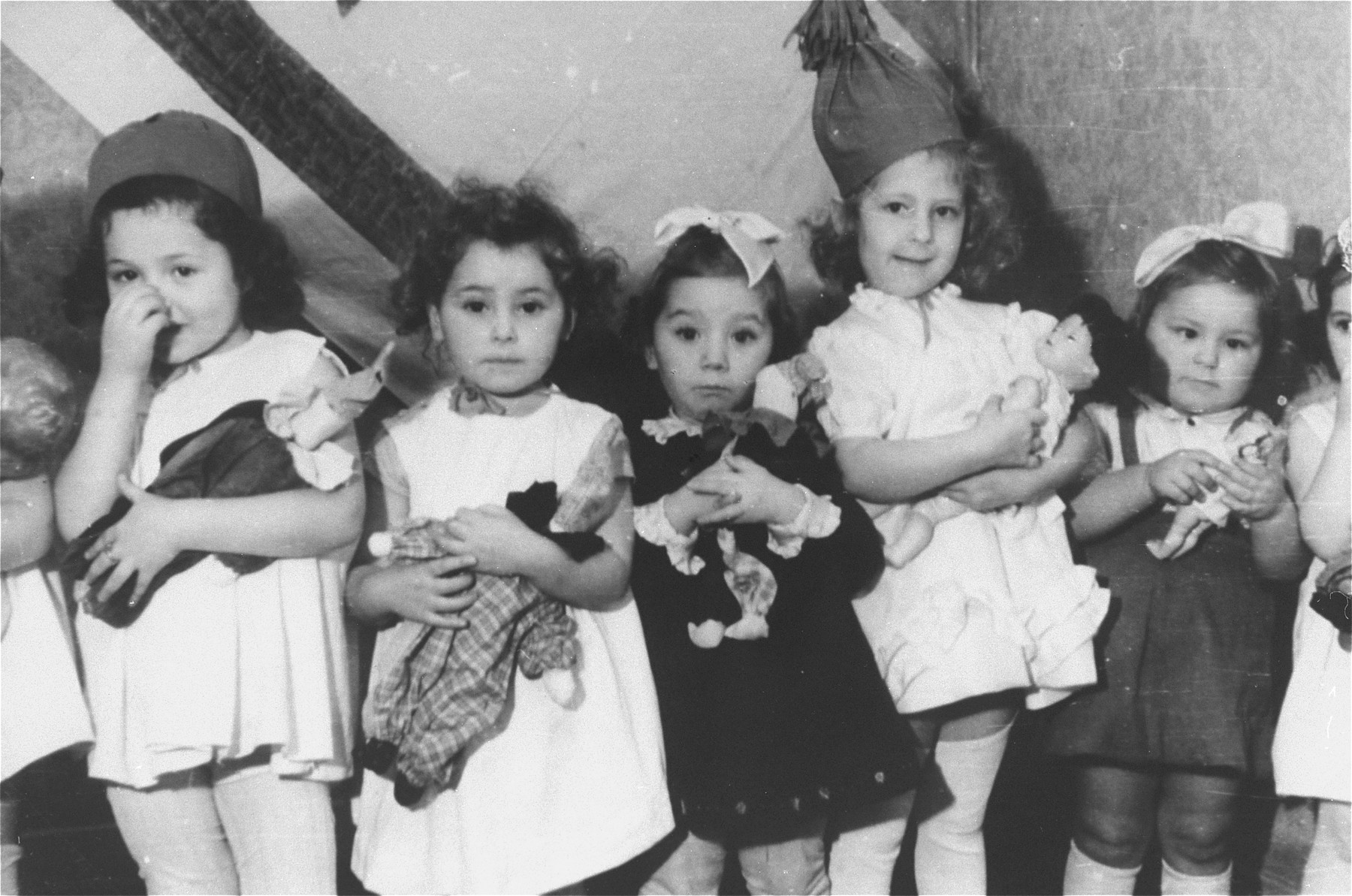 A group of pre-school girls at a nursery in the Zeilsheim displaced persons' camp.